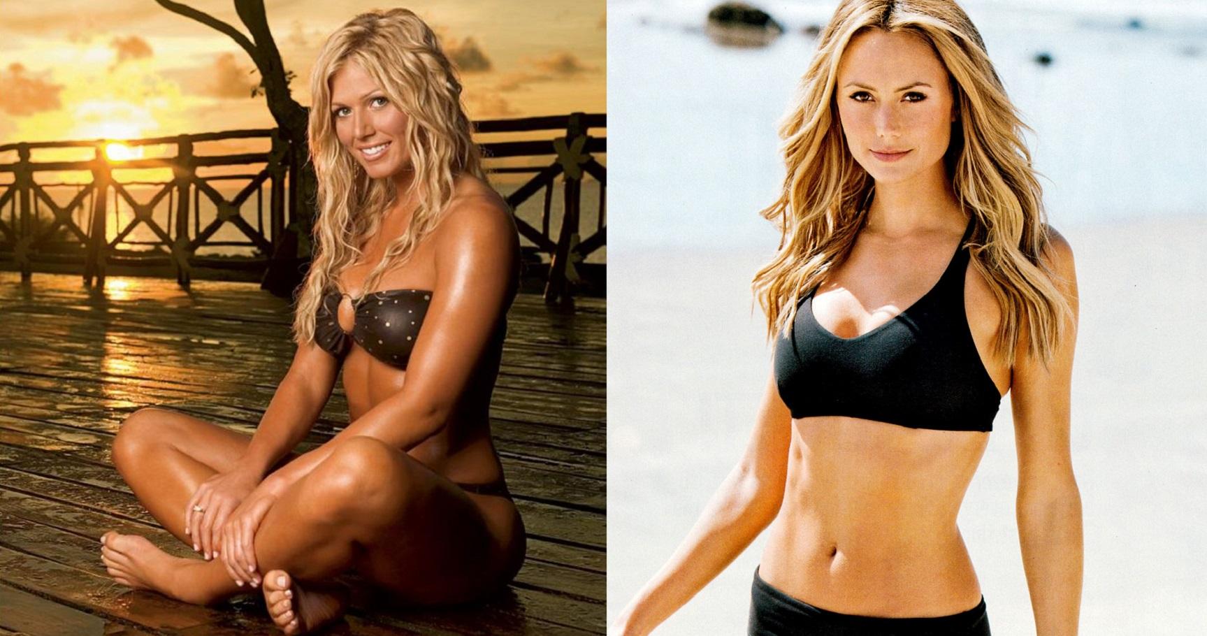 Blonde bikinis wrestling